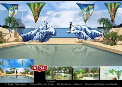 Set Design Visualization - Emerald Nuts / Pop Secret - 2010 Super Bowl - Awesomer