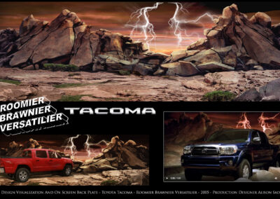 Set Design Visualization And On Screen Back Plate - Toyota Tacoma - Roomier Brawnier Versatilier - 2005
