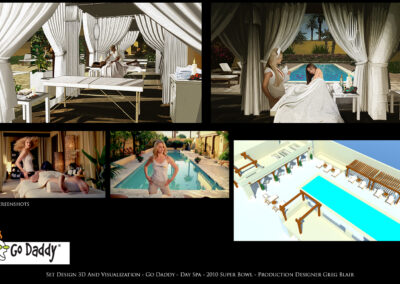 Set Design 3D And Visualization - Go Daddy - Day Spa - 2010 Super Bowl