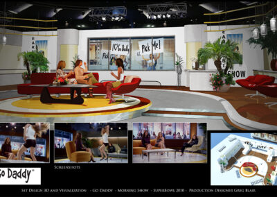 Set Design 3D And Visualization - Go Daddy - Morning Show - 2010 Super Bowl