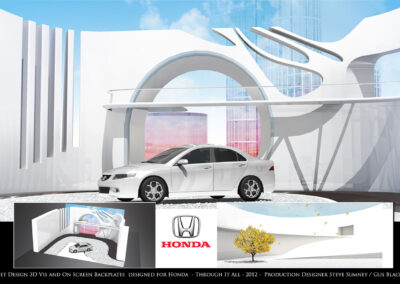 Set Design 3D Visualization And On Screen Back plates- Honda - Through It All - 2012